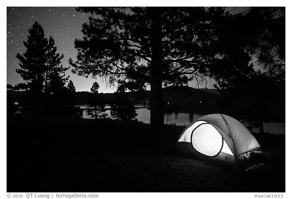 Tent and Prosser Reservoir at night, Tahoe National Forest. California, USA (black and white)