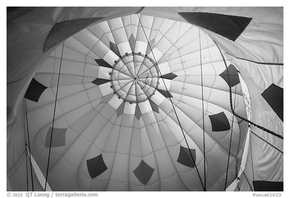 Looking up inside yellow hot air balloon. California, USA (black and white)