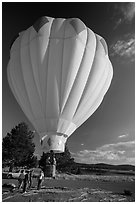 Just launched hot air balloon, Tahoe National Forest. California, USA ( black and white)