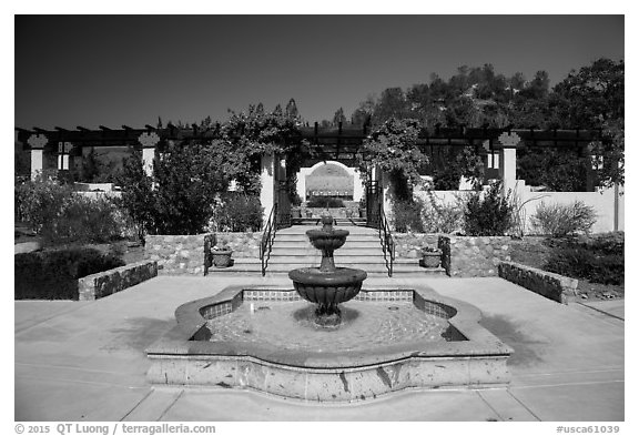 Memorial garden, La Paz, Cesar Chavez National Monument, Keene. California, USA (black and white)