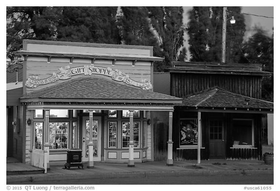 Gift shop and historic buildings, Cedarville. California, USA (black and white)