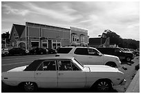 Classic car and street. Mendocino, California, USA ( black and white)
