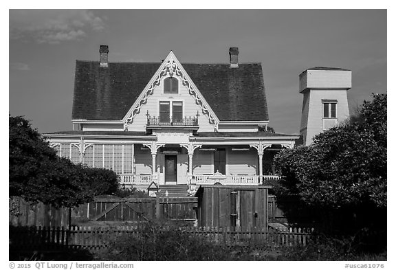 House and tower. Mendocino, California, USA (black and white)