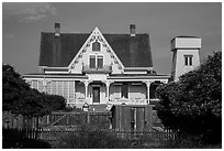 House and tower. Mendocino, California, USA ( black and white)