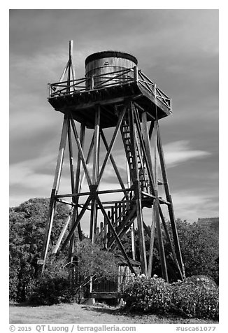 Water tower. Mendocino, California, USA (black and white)