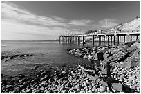 Sea Kayakers and Wharf. California, USA ( black and white)