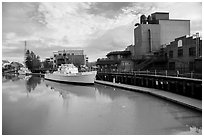 Petaluma River and Petaluma Mill. Petaluma, California, USA ( black and white)