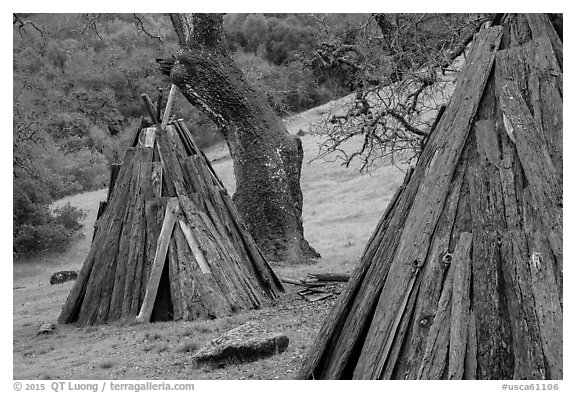 Reconstructed Miwok village, Olompali State Historic Park. Petaluma, California, USA (black and white)