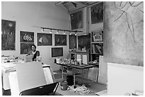 Artist in painting studio. Berkeley, California, USA ( black and white)
