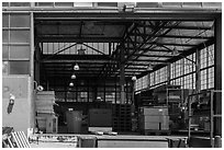 Loading platform and warehouse interior. Berkeley, California, USA ( black and white)