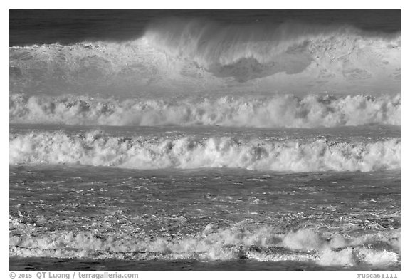 Giant waves breaking offshore. Half Moon Bay, California, USA (black and white)