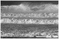 Giant waves breaking offshore. Half Moon Bay, California, USA ( black and white)