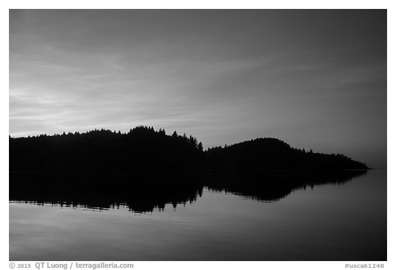 Sunset reflection in Stone Lagoon, Humboldt Lagoons State Park. California, USA (black and white)