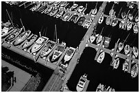 Aerial view of yachts in harbor. Monterey, California, USA ( black and white)