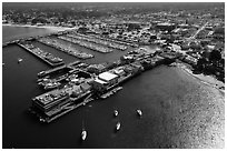 Aerial view of wharf and harbor. Monterey, California, USA ( black and white)