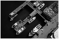 Aerial view of wharf and tour boats. Monterey, California, USA ( black and white)