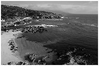 Aerial view of beach and costline, Cypress Point. Pebble Beach, California, USA ( black and white)