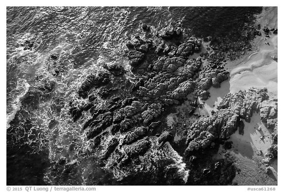 Aerial view of rocks, Cypress Point. Pebble Beach, California, USA (black and white)