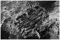 Aerial view of rocks, Cypress Point. Pebble Beach, California, USA ( black and white)