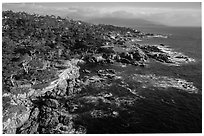 Aerial view of coastline, 17-mile drive. Pebble Beach, California, USA ( black and white)