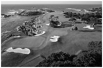 Aerial view of golf course on edge of coast. Pebble Beach, California, USA ( black and white)