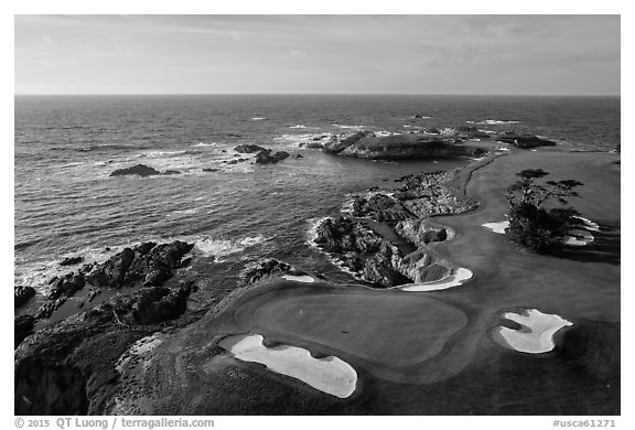 Black and white picture photo aerial view of cypress point golf course pebble beach california usa