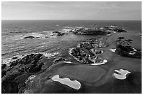 Aerial view of Cypress Point golf course. Pebble Beach, California, USA ( black and white)