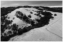 Aerial view of Evergreen Hills covered by hail. San Jose, California, USA ( black and white)