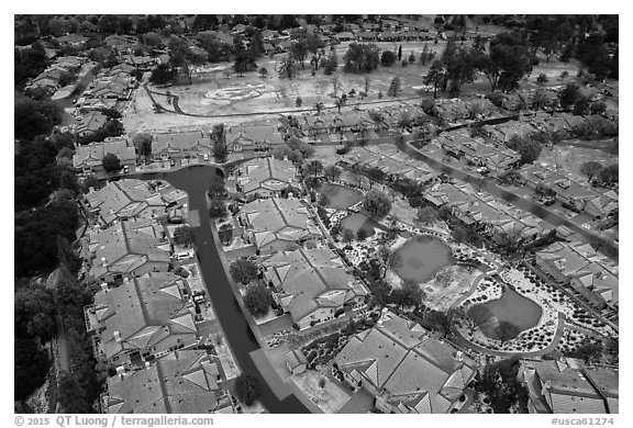 Aerial view of Villages Country Club after hailstorm. San Jose, California, USA (black and white)