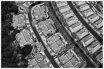Aerial view of residences after hailstorm. San Jose, California, USA ( black and white)