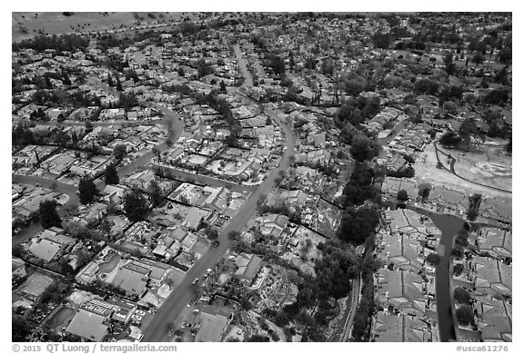 Aerial view of Meadowlands and Villages after hailstorm. San Jose, California, USA (black and white)