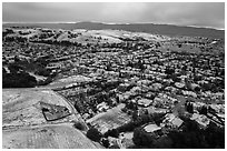 Aerial view of Meadowlands and hills covered by hail. San Jose, California, USA ( black and white)