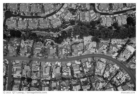 Aerial view of Meadowlands with hail. San Jose, California, USA (black and white)