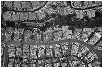 Aerial view of Meadowlands with hail. San Jose, California, USA ( black and white)