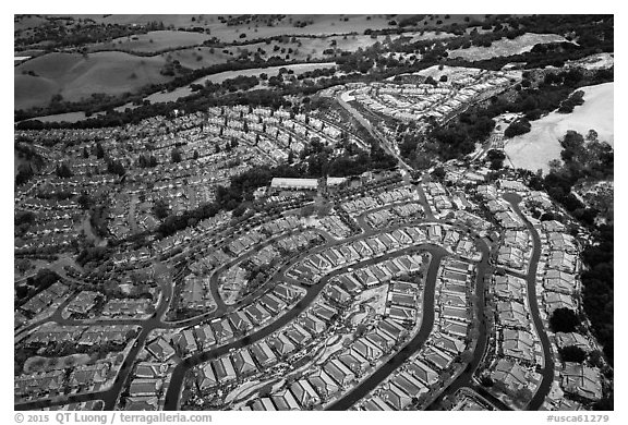 Aerial view of Villages with hail. San Jose, California, USA (black and white)