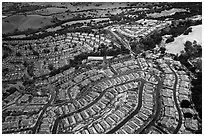 Aerial view of Villages with hail. San Jose, California, USA ( black and white)