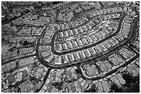 Aerial view of Villages after hailstorm. San Jose, California, USA ( black and white)
