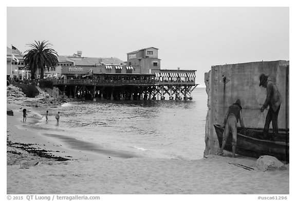 Beach near Cannery Row on cloudy day. Monterey, California, USA (black and white)