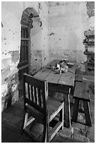 Dining table, Mission San Miguel. California, USA ( black and white)
