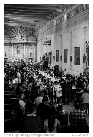 Church interior during festival, Mission San Miguel. California, USA (black and white)