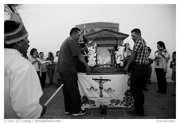 Men carrying Senor de los Milagros altar, Mission San Miguel. California, USA (black and white)