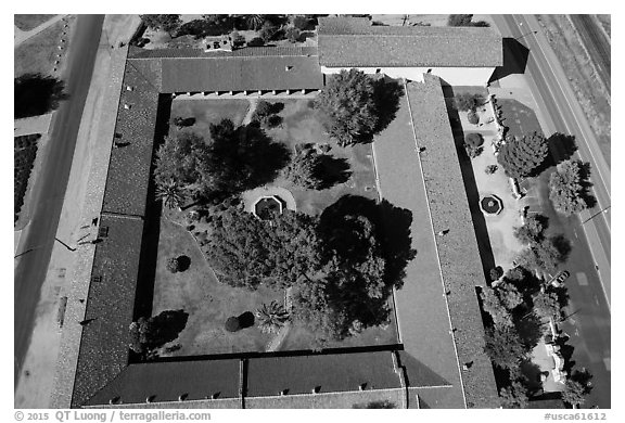 Aerial view of the four walls of Mission San Miguel. California, USA (black and white)