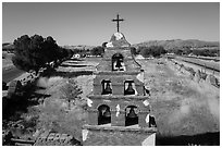 Aerial view of Mission San Miguel bell tower. California, USA ( black and white)