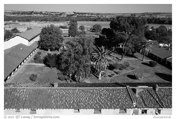 Aerial view of Mission San Miguel rooftops, church, and courtyard. California, USA (black and white)