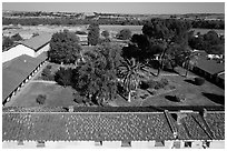Aerial view of Mission San Miguel rooftops, church, and courtyard. California, USA ( black and white)