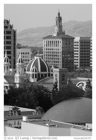 Rooftops of Tech Museum, San Jose Museum of Art, St Joseph Cathedral, and Bank of Italy building. San Jose, California, USA (black and white)