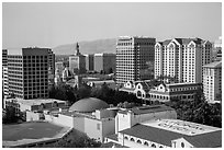 Rooftops and skyline with San Jose landmark buildings. San Jose, California, USA ( black and white)