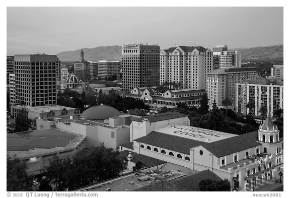 City National Civic and skyline at dusk from above. San Jose, California, USA (black and white)