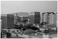 San Jose skyline at dusk with landmark downtown buildings. San Jose, California, USA ( black and white)