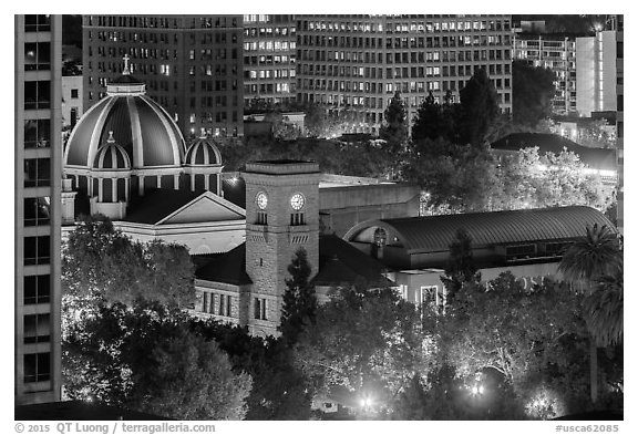 San Jose Museum of Art and St Joseph Cathedral at night from above. San Jose, California, USA (black and white)
